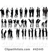 Forty Poses of Black Silhouetted Businessmen and Mean Management