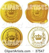 Four Gold Luxury Product Sticker and Wax Seals