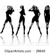 Four Sexy Black Silhouetted Women in High Heels, Standing in Different Poses