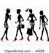 Four Silhouetted Women in Red Heels
