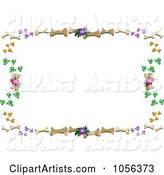 Frame of Dog Bones, Paw Prints and Flowers
