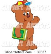 Friendly Bear Cub Student Wearing a Colorful Hat, Waving and Carrying a Green Library or School Book