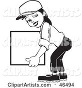 Friendly Black and White Delivery Woman Carrying a Blank Box
