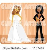 Friendly Black Wedding Planner and Bride Trying on Her Dress over Orange