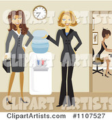Friendly Businesswomen Talking by a Water Cooler in an Office