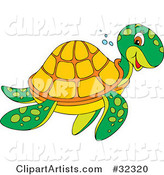 Friendly Green Sea Turtle with an Orange Shell, Smiling While Swimming to the Right