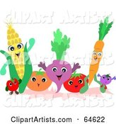 Friendly Group of Fruits and Veggies