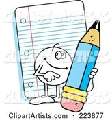 Friendly Moodie Character Holding a Pencil by Note Paper