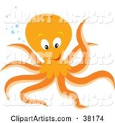 Friendly Orange Octopus with Bubbles