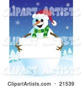 Friendly Smiling Snowman in a Green Scarf and Santa Hat, Holding up a Blank White Sign with His Stick Arms