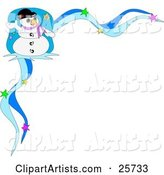 Frosty the Snowman Wearing a Hat and Purple Scarf and Waving, in the Corner of a Blue Starry Christmas Stationery Border