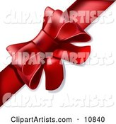 Gift Present Wrapped with a Red Bow and Ribbon