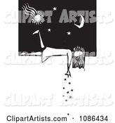 Girl Laying on a Wall and Dropping Stars Black and White Woodcut