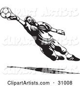 Goal Keeper Blocking a Ball, in Black and White