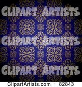 Gold and Royal Blue Floral Patterned Wallpaper Background