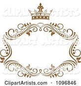 Gold Ornate Swirl Frame with a Crown and Copyspace on White 1