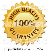 Golden 100 Percent High Quality Guarantee Stamp