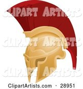 Golden and Red Spartan or Trojan Helmet, Part of Body Armor