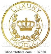 Golden Embossed Luxury Product Seal with a Crown and Laurel