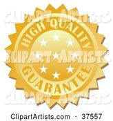Golden High Quality Guarantee Stamp with Stars