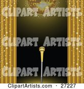 Golden Microphone on a Stand on a Stage, Framed by Golden Sparkling Curtains Under a Gold Disco Ball