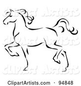Graceful Black Line Art Trotting Horse Profile