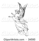 Graceful Female Angel with Large Wings, Floating Through the Air with Her Arms out
