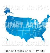 Gradient Blue United States of America Map with All of the States, on a White Background