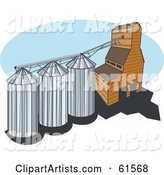 Grain Elevator with Three Silos