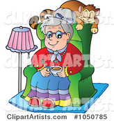 Granny Sitting in a Chair with Her Cat Napping Behind Her