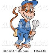 Grease Monkey Mechanic Holding a Wrench