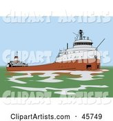 Great Lakes Freighter Ship in Green Waters