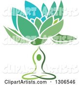 Green and Blue Water Lily Lotus Flower and Meditating Person