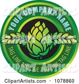 Green Bud and Circle Logo with Sample Text