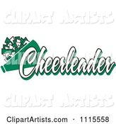 Green Cheerleader Text with a Pom Pom and Megaphone