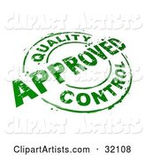 Green Circular Stamp with Quality Control Approved Text, over a White Background