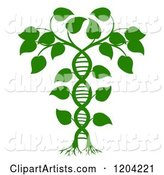 Green DNA Double Helix Plant