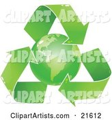 Green Earth Circled by Recycling Arrows, over a White Background