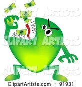 Green Economy Monster Eating Cash