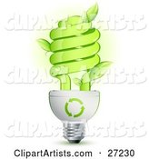 Green Energy Efficient Lightbulb with Leaves Sprouting from the Glass and Green Arrows Above the Spiral