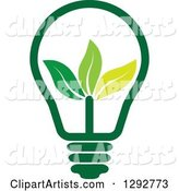 Green Energy Light Bulb with Leaves