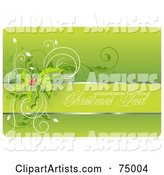 Green Holly Christmas Background with a Text Box, Vines, Sample Text and White Edges