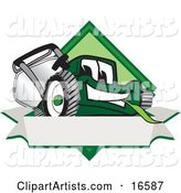 Green Lawn Mower Mascot Cartoon Character on a Blank Label