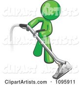 Green Man Using a Carpet Cleaner Wand