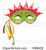 Green Mardi Gras Face Mask with a Crown and Streamers