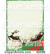Green, Red and White Reindeer and Santa's Sleigh Christmas Background