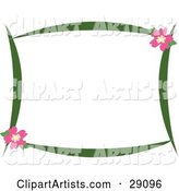 Green Stationery Border with Pink Hibiscus Flowers in the Upper Right and Lower Left Corners, over White