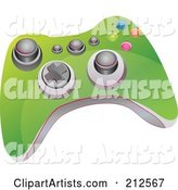 Green Video Game Controller with Buttons and Knobs