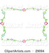 Green Vine Frame of Blue, Purple, Pink and Red Flowers Around a White Background