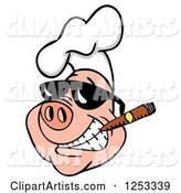Grinning Pig in a Chefs Hat and Sunglasses, Smoking a Cigar